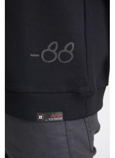 Avva Erkek  Bisiklet Yaka Sweatshirt A02Y1056 Siyah